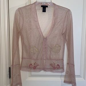 Elegant, sheer pink top with gold and rose gold 💗
